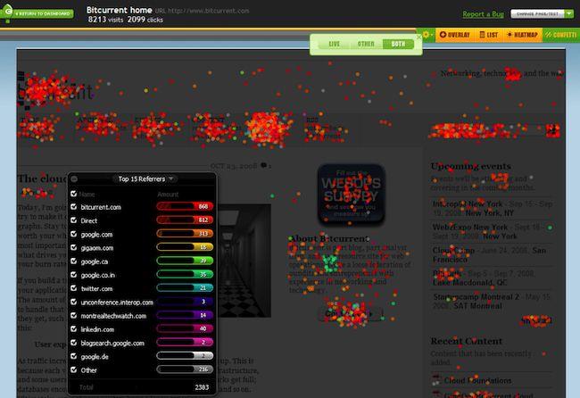 User intelligence tool Crazy Egg confetti report screen capture.