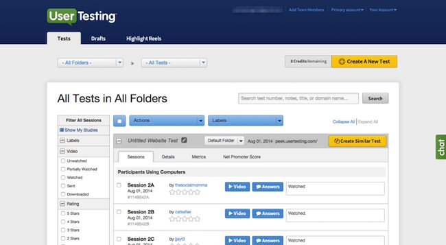 User testing platform UserTesting Screen Shot