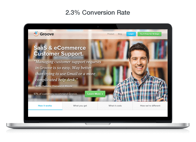Groove SaaS and eCommerce Customer Support Value Proposition screen image