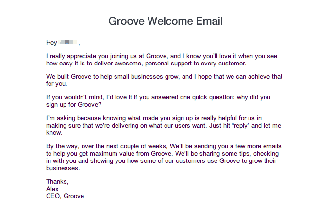 Groove welcome email established their value proposition