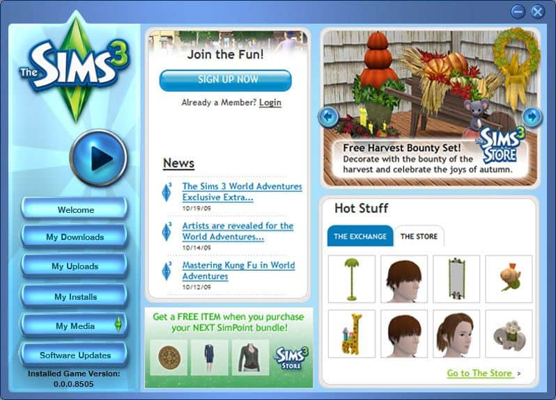 The launch screen of the Sims 3 game