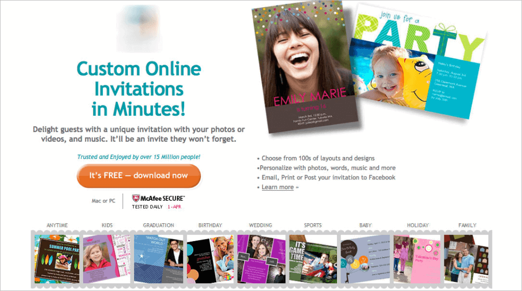 "The original homepage says ""Custom Online Invitations in Minutes!"""