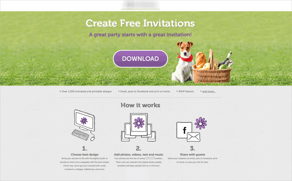 The revised homepage of the invitations service