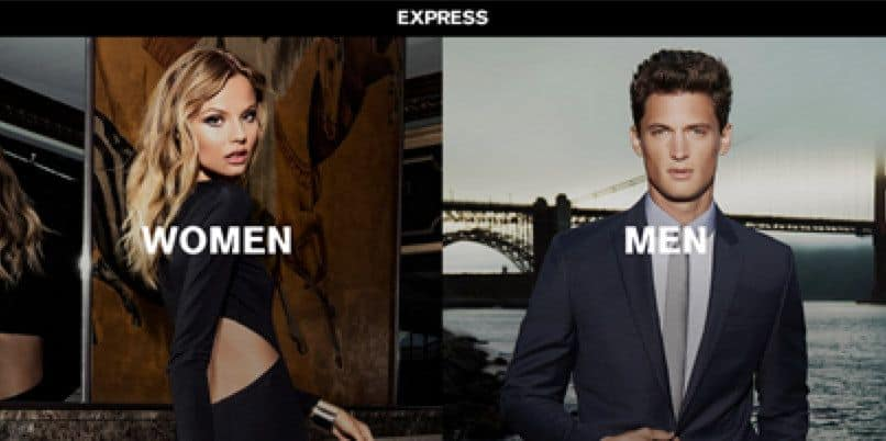 This Express homepage tries to segment men and women right away