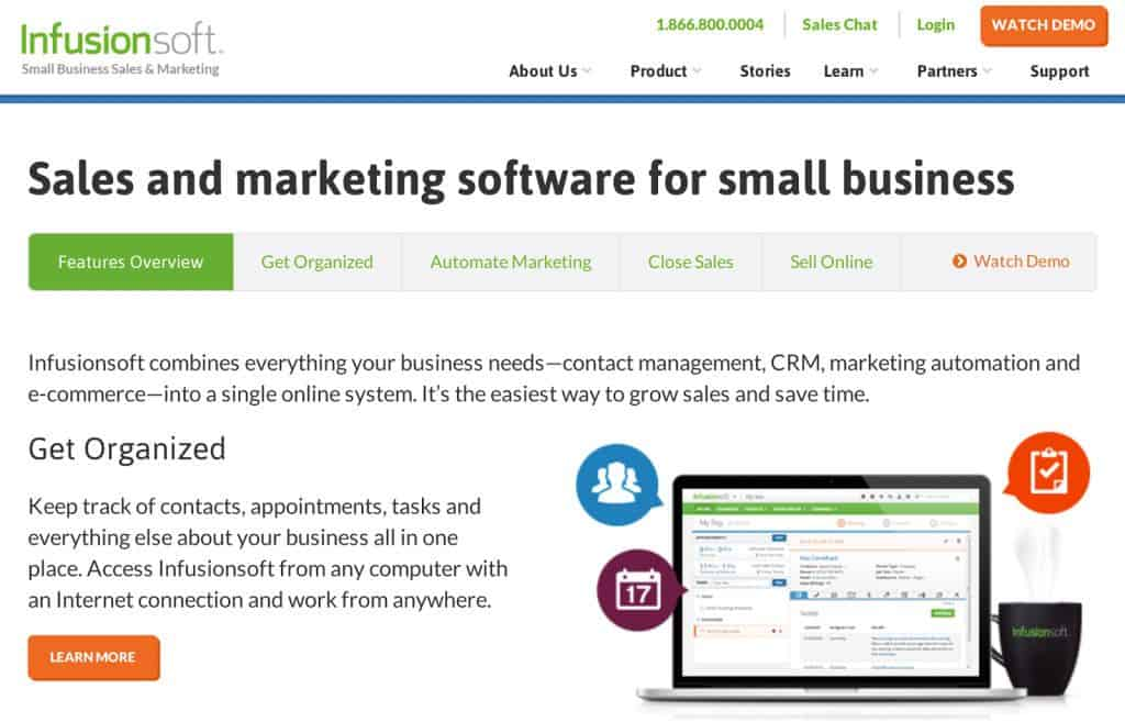 This InfusionSoft landing page has menus under the headline