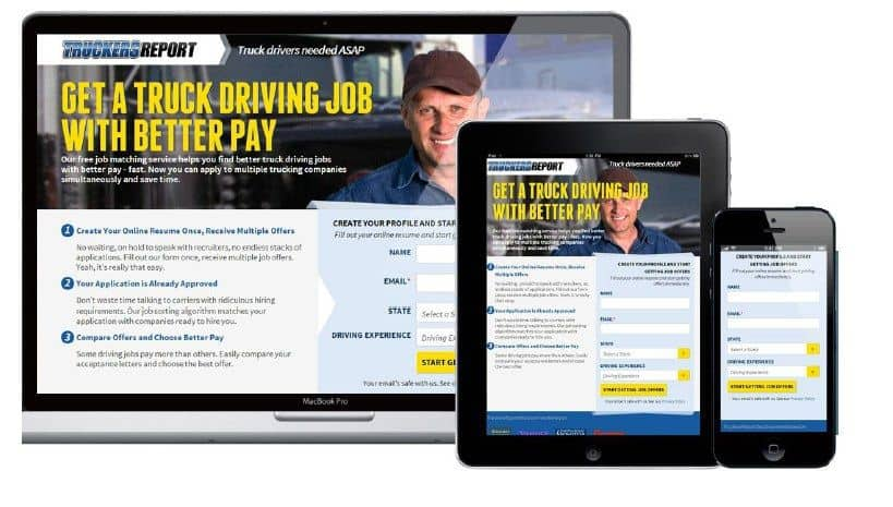 Three views of the redesigned Truckers Report homepage