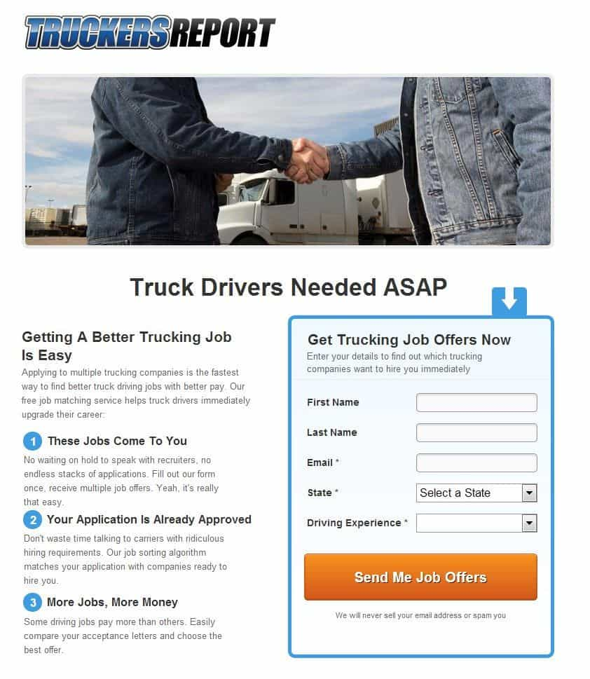 Truckers report landing page