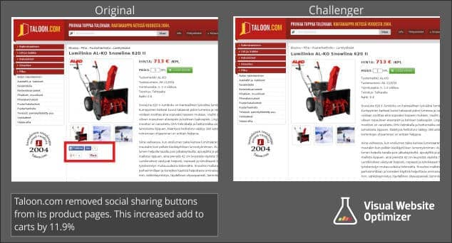 AB test removing social sharing buttons conversion rate increase.
