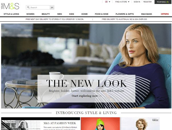 "Marks and Spenser new home page offers ""The New Look"""