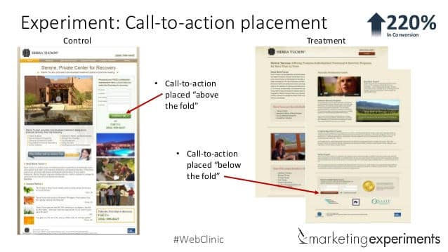 In this case, placing the call to action near the bottom of the page increased conversions.