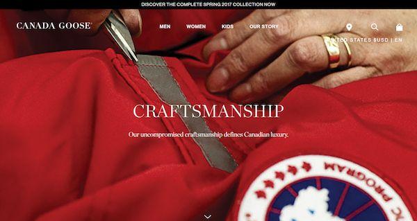 Tagline examples: Canada Goose, Craftsmanship.