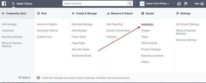 Audience tab of Facebook Ads Manager.