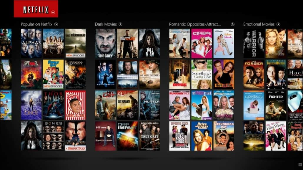 Netflix list of movie titles