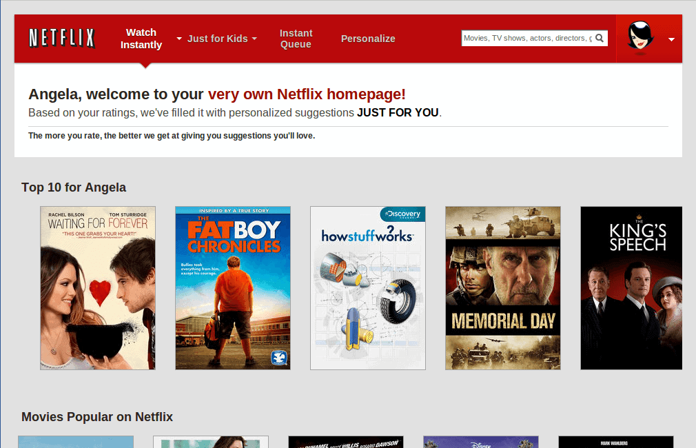 """Netflix screen capture says """"Angela, welcome to your very own Netflix homepage! Based on your ratings, we filled it with personalized suggestions just for you."""""""