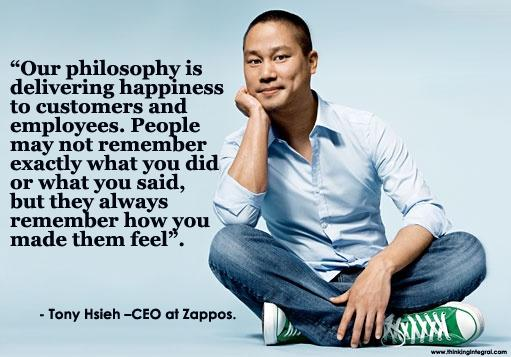 Quote on happiness by Tony Hsieh CEO of Zappos