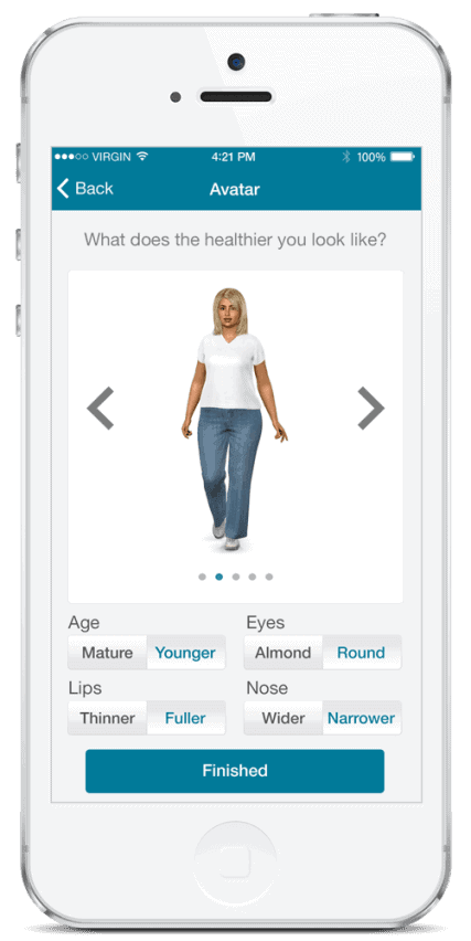 The Ayogo app provides aspirational avatars