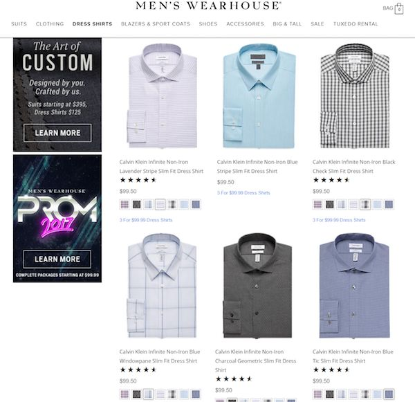 Product page grid view.
