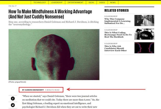 "Author byline example on Fast Company article by Aaron Orendorff. Byline says, ""By Aaron Orendorff, a 5 Minute Read"""
