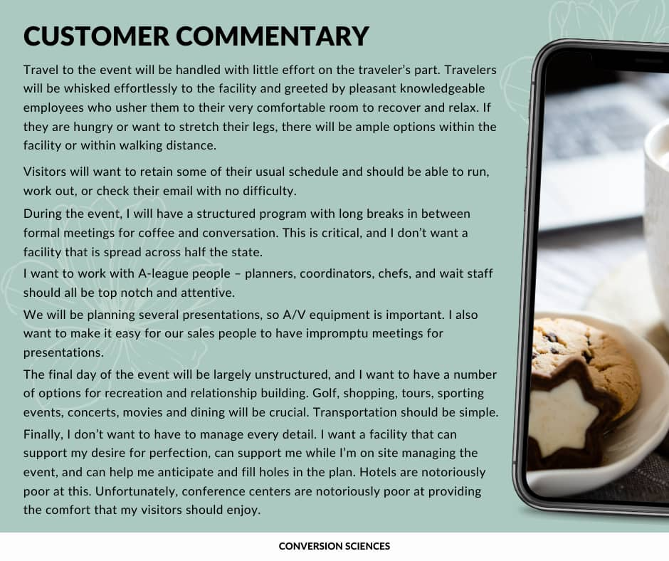Customer commentary example.