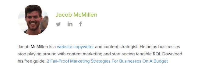Jacob McMillan author bio on the CrazyEgg blog.