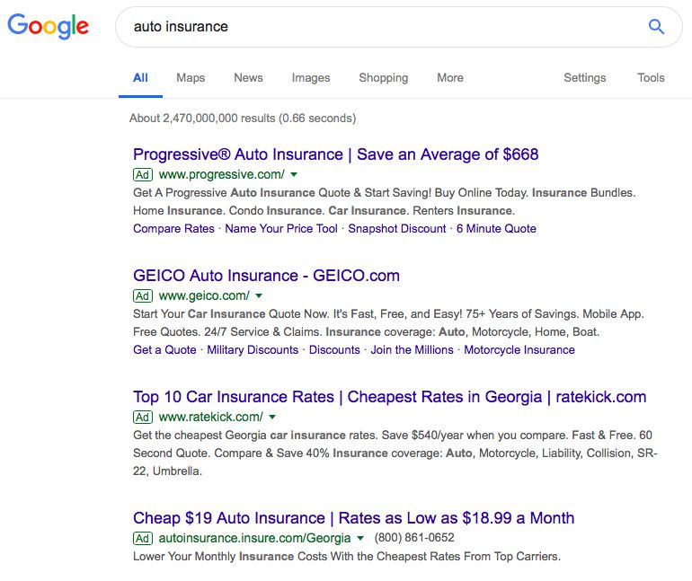 Auto insurance appeal to logic examples. They all look alike. Which one would you click on?