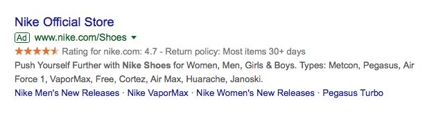 Nike official store Google ad.