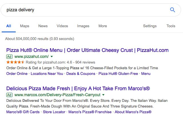 Logical and ethos vs emotional appeal for pizza delivery Google Ads.