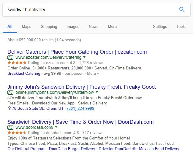 Sandwich delivery ads. Definitely great examples of persuasive copy in PPC ads.
