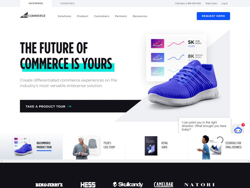 BigCommerce homepage after the website redesign