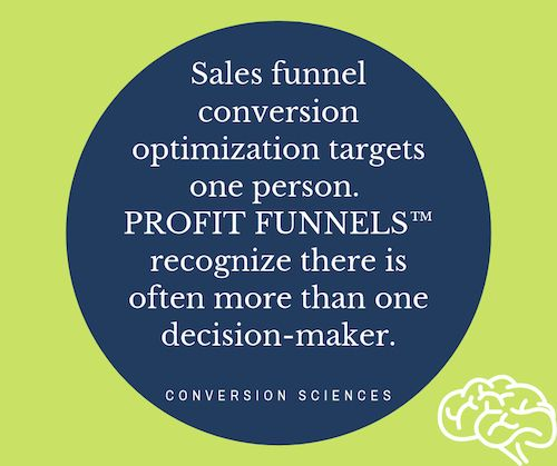 Sales funnel conversion optimization targets one person while Profit funnels recognize there is often more than one decision-maker.