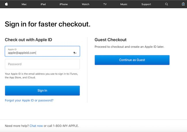 Returning customers first, and in case you don't remember, the format of an Apple ID.