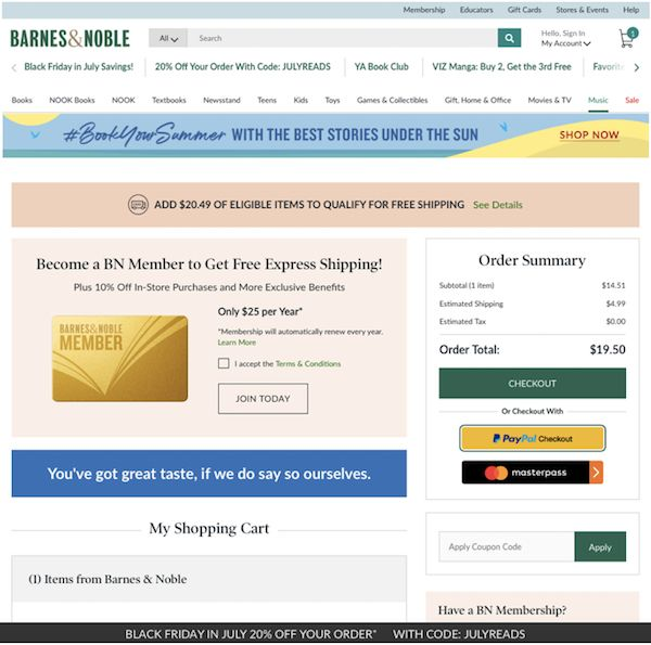 Barnes & Noble ecommerce checkout process. Barnes & Noble doesn't prioritize a free account here. Because they sell a Membership. They make the checkout process as easy as possible with express checkout and later on a social sign in.