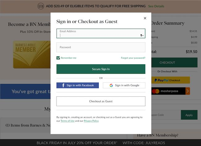 At Barnes & Noble, returning customers have priority at checkout - with an account or social sign in – then finally a guest option. Unfortunately there is no clear place to create an account at this step in their checkout flow.