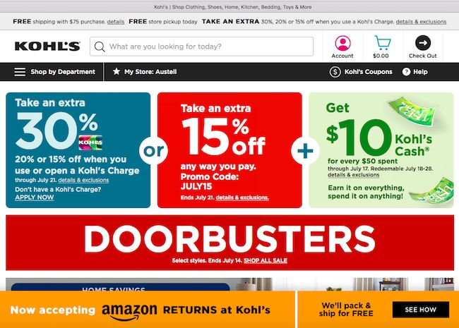 Kohl's strategic partnership with Amazon, processing their returns, drives more traffic to the brick and mortar stores.