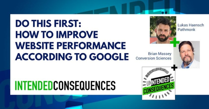 Pictures of Brian Massey and Lukas Haensch and title Do this first: how to improve website performance according to google
