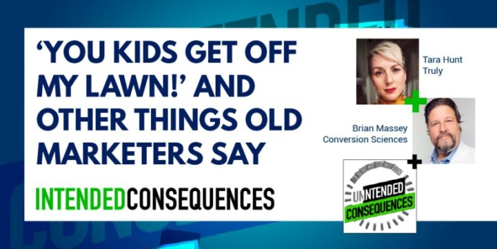 """""""You kids get off my lawn!"""" and other things old marketers say. Picures of Tara Hunt and Brian Massey"""