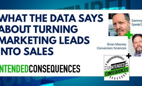 What the data says about turning marketing leads in to sales. Pictures of Sammy James of Speak 2 Leads and Brian Massey of Conversion Sciences