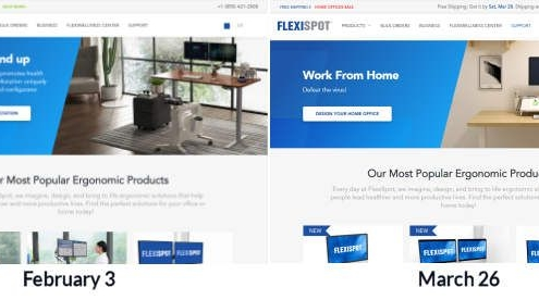 Best ecommerce strategies to minimize Covid-19's impact on revenues: Flexidesk before and after image