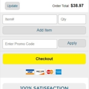 Mobile ecommerce checkout best practices: Galeton reiterates their guarantee and return policy right below the Checkout button.
