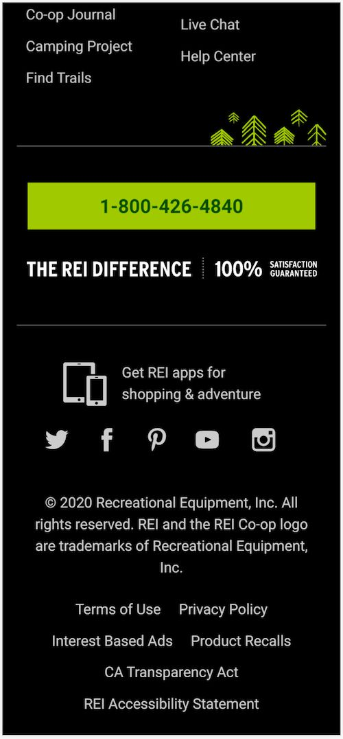 REI buries their phone number way down in the footer.