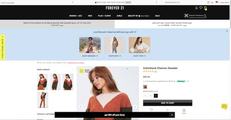 Forever21 does not lack on follow up actions after add to cart: promo codes and related products.