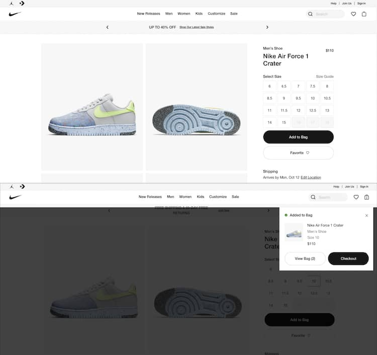After the click to buy, Nike adds an overlay to the product page and shows a timed checkout link.