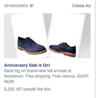 Facebook retargeting ad from Nordstrom.