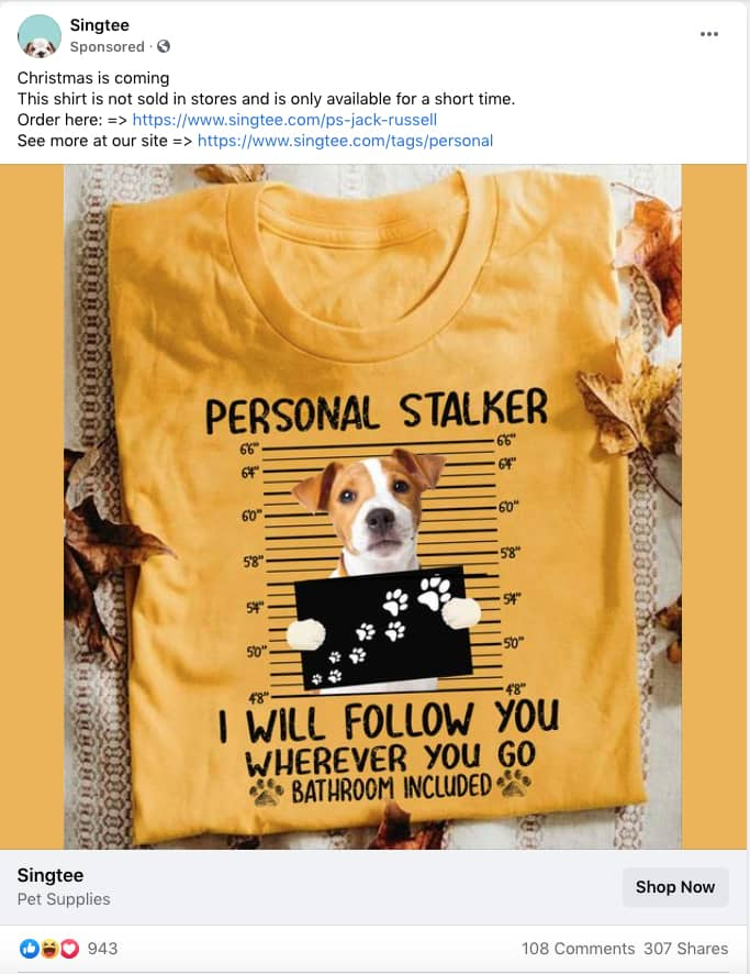 Can a dog lover resist this timed offer as a holiday gift? Truly great holiday marketing campaign.