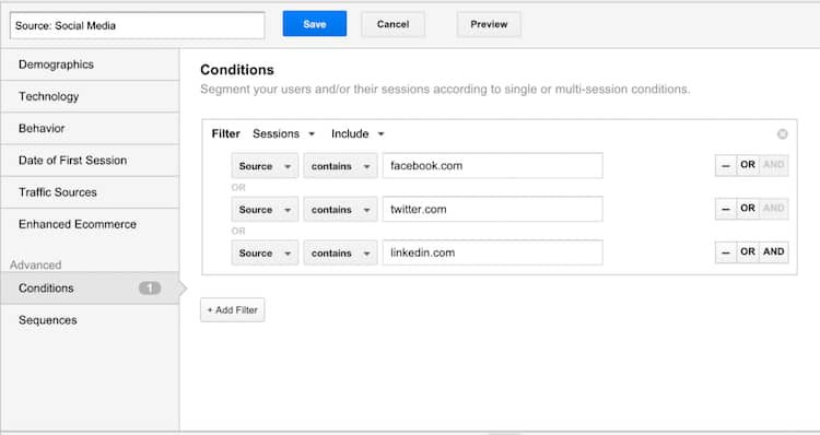 This is how we traditionally set up segments in Google Analytics to analyze site conversions better.