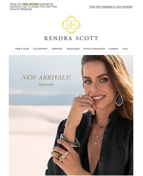 Increase holiday sales email blast. Kendra Scott Austin jeweler.