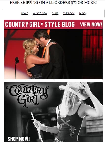 Relevant news can help increase email open and click through rates. Miranda Lambert & Blake Shelton divorce, but Country Fashion retailers are making money.