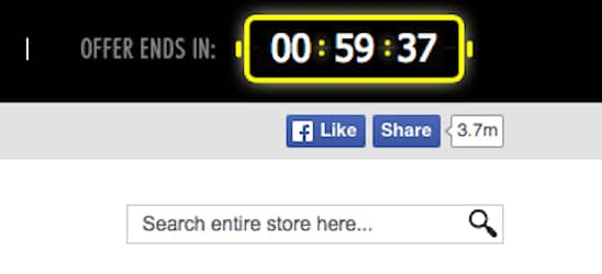 Website offer with expiration date. You've got one hour to make a purchase! The agony.