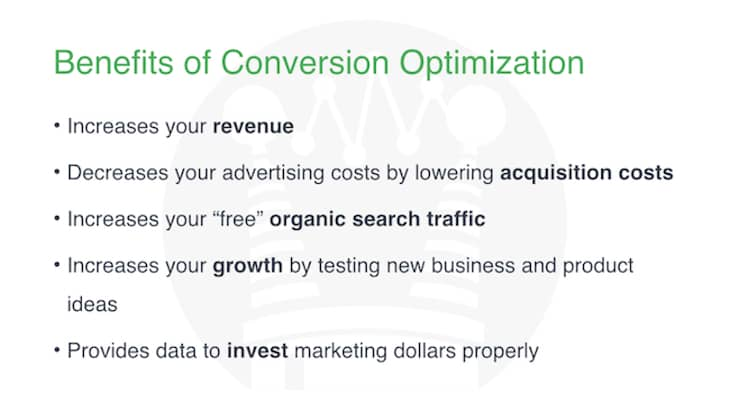 Benefits of conversion optimization. Brian Massey, the Conversion Scientist, shares the steps of conversion optimization.