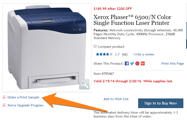 A mailed test page is a clever way to show customers how the product performs without setting up a physical store